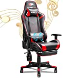 SOUTHERN WOLF Gaming Chair, Racing Style Office Chair with Footrest, Ergonomic Video Game Chair with Bluetooth Speakers, Adjustable Armrest PC Computer/Desk Chair with Lumbar Massage & PU Leather