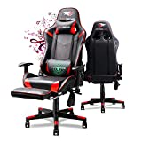SOUTHERN WOLF Gaming Chair Racing Style Office Chair with Foldable Footrest Ergonomic Video Game Chair with Bluetooth Speakers Adjustable Armrest PU Leather PC Computer Game Chair with Lumbar Massage