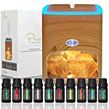 Himalayan Pink Salt Diffuser & 10 Essential Oils – 2-in-1 Therapeutic Device - Aromatherapy & Ionic Himalayan Salt Therapy – 400ml Ultrasonic Vaporizer and Ionizer with Ambient Glow