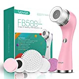 VOYOR Facial Cleansing Brush Rechargeable, Spin Face Brush Waterproof 5-IN-1 Body Brush Set for Deep Skin Cleansing, Gentle Exfoliating and Massaging FB500 (Pink)