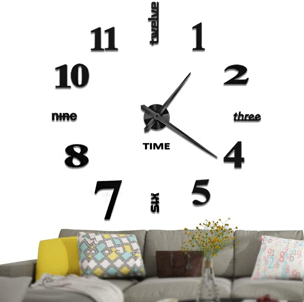 Vangold-Large-DIY-Wall-Clock-2-year-warrenty-modern-3D-Wall-Clock-with-Mirror-Numbers-Stickers-for-Home