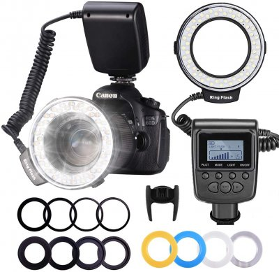 Neewer 48 Macro LED Ring Flash Bundle with LCD Display Power Control, Adapter Rings and Flash Diffusers for Canon 650D,600D,550D,70D,60D,5D Nikon D5000