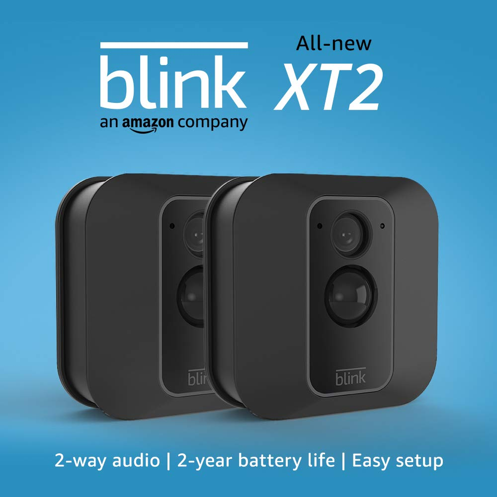 Blink XT2 Outdoor/Indoor Smart Security Camera with cloud storage included, 2-way audio, 2-year battery life – 2 camera kit