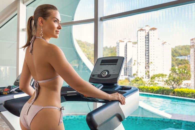 Model running on treadmills