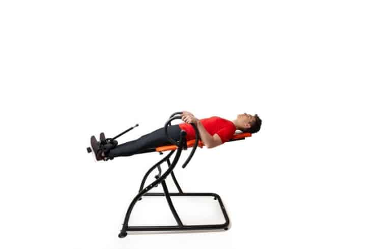 man in inversion table
