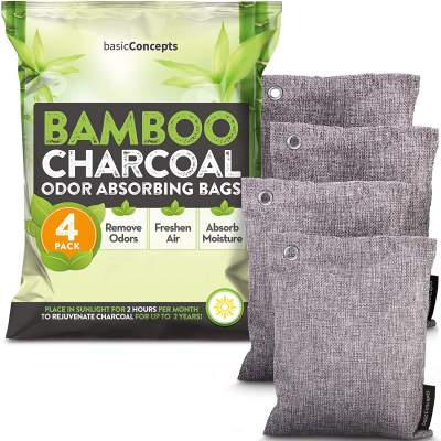 Bamboo Charcoal Air Purifying Bags (4 Pack), Charcoal Bags Odor Absorber for Home and Car